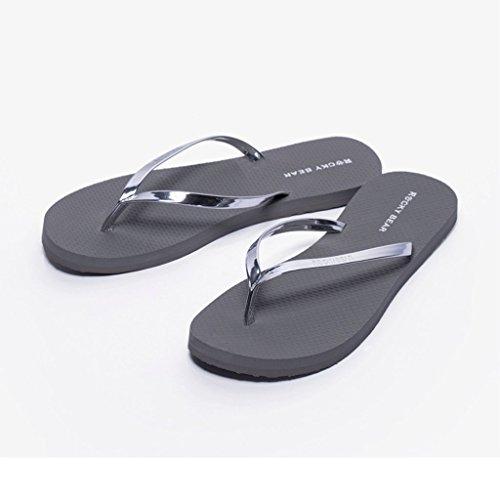 Impermeabili Ciabatte Red 38 Metallo Estive Spiaggia Dimensioni Da Pantofole Moda In Lucido Sandali E Femminili Gray colore qOwAxIZ