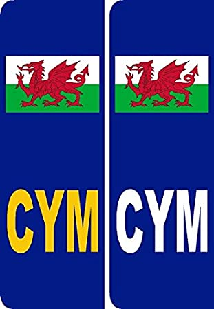 2 x Wales CYM Badge Car Number Plate Self-adhesive Vinyl Stickers UK legal welsh flag decals
