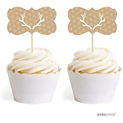 Andaz Press Birthday Cupcake Toppers DIY Party Favors Kit, Tan Deer Antlers, Double-Sided, 18-Pack