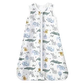 Mosebears Sleep Sack Baby Wearable Blanket with 2-Way Zipper,0.5 TOG Cotton Sleep Sack Unisex (Animal Club, L (12-18 Months))