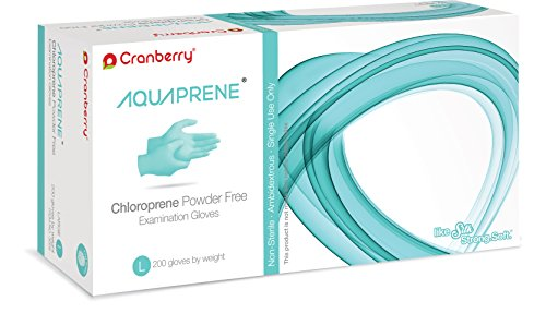 Cranberry USA CR3028 Aquaprene Chloroprene Powder Free Exam Gloves, Large, Aqua (Pack of 200) by Cranberry USA