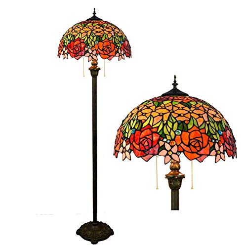 YAYONG Floor Lamp American Retro Stained Glass Hotel Bar Club Ktv Rose Glass Lamps Pendant Light (Glass Light Rose Pendant)