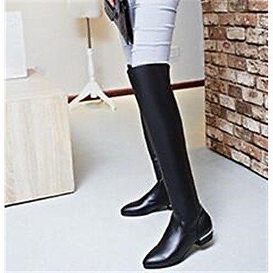 GLL&xuezi Damen Stiefel Komfort Nubukleder PU Herbst Normal Schwarz 5 - 7 cm black