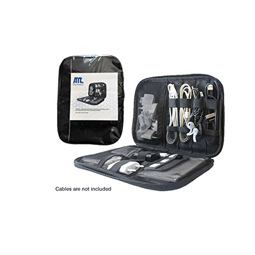 Travel Cable Organizer Bag Small Electronic Bag Case for Phone Charger, Headphones and Accessories, Water resistance, AMC Dynamic, Black by AMC Dynamic