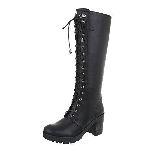 Ital-Design Schnürstiefel Damenschuhe Schnürstiefel Blockabsatz Schnürer Reißverschluss Stiefel Schwarz AE80