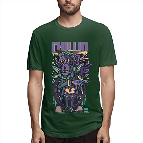 (Syins New Men Chillin Apes Summertime 100% Organic Cotton Short Sleeve T Shirt Forest Green)