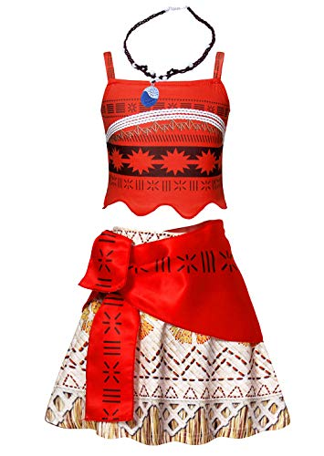Jurebecia Moana Girls Crop Top Tassel Skirt Dress Up Party Cosplay Clothes Set Kids Outfits Red Age 5-6 Years Size 8 ()