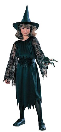 Halloween Concepts Child's Witch Costume with Flocked Velvet Spider Web Fabric, Medium (Group Girl Halloween Costumes)