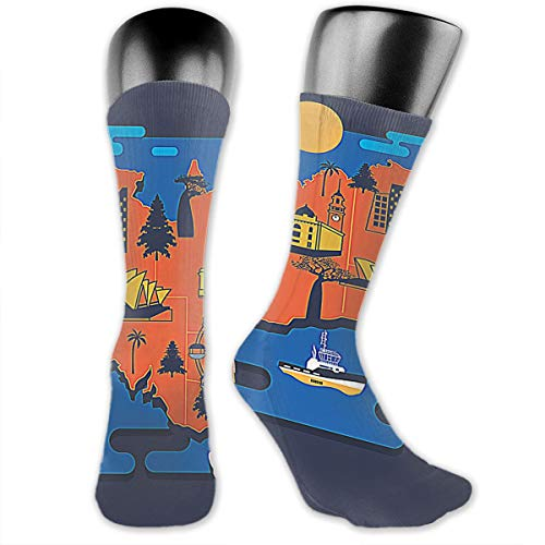 OLGCZM Melbourne Map Men Womens Thin High Ankle Casual Socks Fit Outdoor Hiking ()