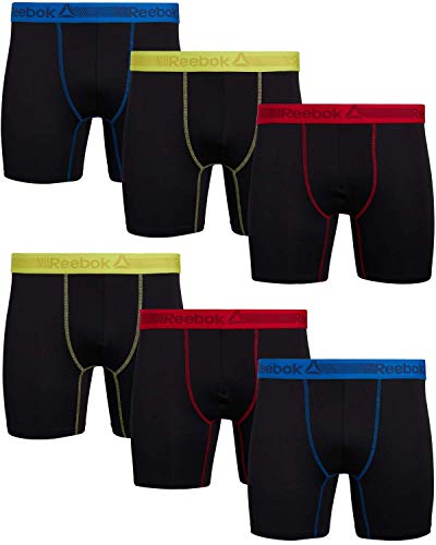 Reebok Mens 6 Pack Performance Quick Dry Moisture Wicking Boxer Briefs