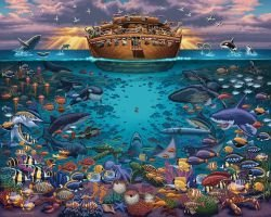 Noahs Ark Under The Sea 500 Piece Puzzle by Dowdle Folk Art