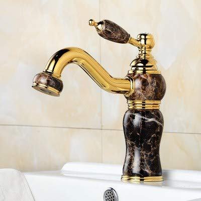 A LHbox Basin Mixer Tap Bathroom Sink Faucet Basin taps gold natural jade basin full of hot and cold copper single hole Bathroom Cabinet faucet, D.