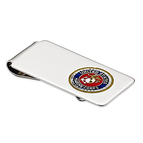925 Sterling Silver Enamel Accented Us Marine Corps and Anchor Money Clip from Savy Silver