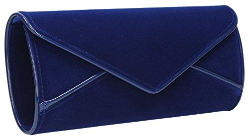 Clutch Da Donna Perry, Camoscio Vellutato, Design A Busta, Blu Royal