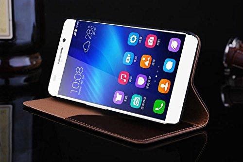 SRY-Conjuntos de teléfonos móviles de Huawei Para Huawei Hornor 6, cubierta de la caja del soporte del cuero genuino de la calidad superior de la piel del árbol con ranura para tarjeta Proteja complet Brown