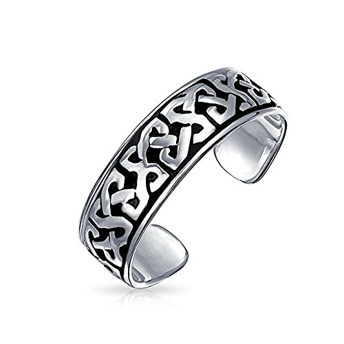 14k Ring Toe Celtic (3djewels Women's 14K White Gold Fn .925 Sterling Silver Celtic Knot Adjustable Toe Ring)