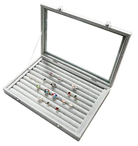 Pasutewel Velvet Glass Jewelry Ring Display Organiser Box Tray Holder Jewelry Earrings Storage Case ()