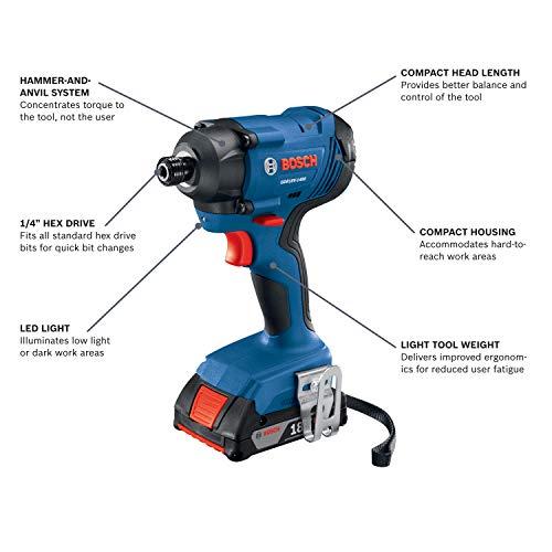 Bosch GDR18V-1400B12 18V 1/4 In. Hex Impact Driver Kit - http://coolthings.us