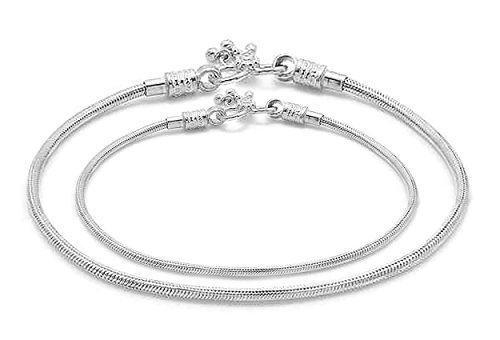 D&D Crafts Sterling Silver Sturdy Look Anklets For Girls, Women by D&D