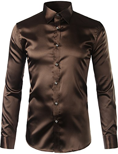 Zeroyaa Mens Solid Color Casual Slim Fit Long Sleeve Shiny Satin Prom Dress Shirt Tops Z5-Coffee Large