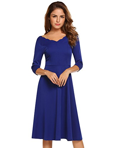 HOTOUCH Women Classic A-line Casual Long Flowy Dress(Royal Blue XXL)