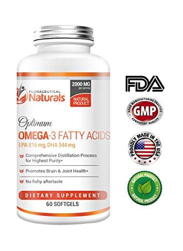 Floraceutical Naturals Fish Oil Omega 3 | 60 Rapid Release Softgels | No aftertaste | No heavy metals | Distilled