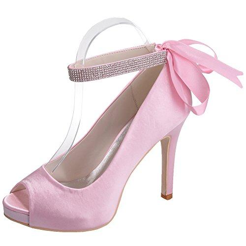 Loslandifen Elegante Mujer Peep Toe Bombas De Satén Tobillo Correas Tacón De Aguja Zapatos De Tacón Alto Rosa