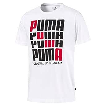 PUMA Men's Puma Repeat Brand Graphic Tee, Puma White, S