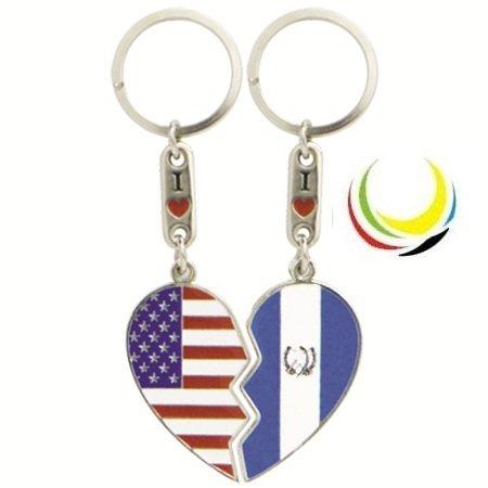 flagsandsouvenirs Keychain USA GUATEMALA HEART