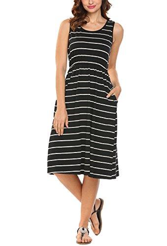 Hount-Womens-Summer-Sleeveless-Striped-Empire-Waist-Loose-Midi-Casual-Dress-with-Pockets