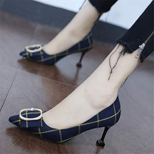 metal work EU buckle cat temperament fashion high shoes 37 with spring single elegant Pointed check and YMFIE heels autumn shoes Rxwa741HWq