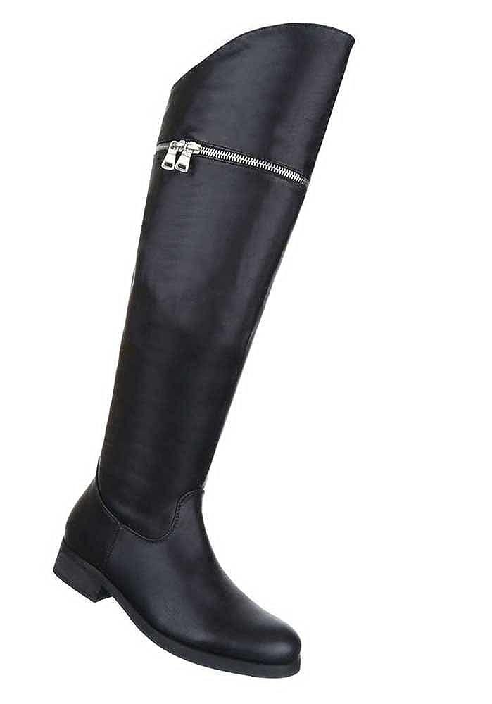 Damen Schuhe Stiefel Overknee Klassische Schwarz 35 36 37 38 39 40 41