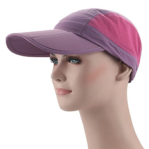Ezyoutdoor Waterproof Collapsible Motion Hat Fishing Jungle Hat Outdoor Sunscreen Baseball Cap Long Brim Cap Fishing Hat for Fishing Hunting Camping Swimming Hiking,One Size Fit Most (Purple)