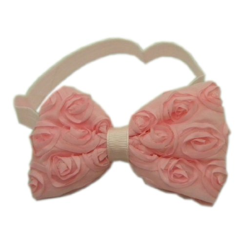 Light Pink Baby Girl Stretchy Headband with Rosette Bow on Elastic Band