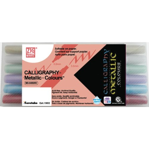 Zig Memory System Calligraphy Metallic Dual Tip Marker - 6-Pack