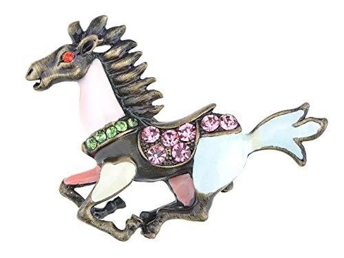 (Alilang Vintage Inspired Reproduction Multicolored Enamel Paint Horse Fashion Costume Pin)
