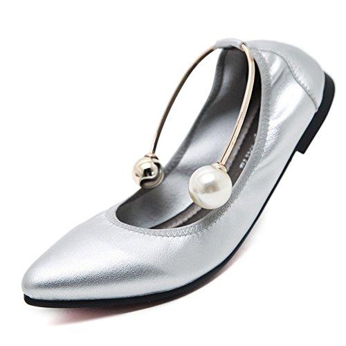SHINIK Zapatos de mujer de microfibra de verano Comfort Flats Walking Shoes talón plano en punta para Casual de gran tamaño D