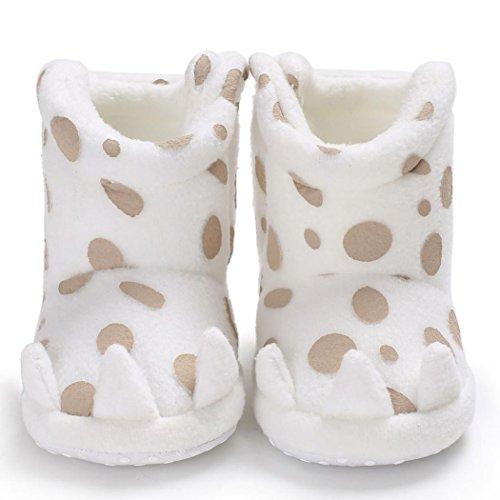Snow Booties für Baby Girl Boy - cinnamou Neugeborene weiche rutschfeste Flecken Stiefel - Infant Kleinkind Baumwolle Erwärmung Krippe Sneaker Schuhe Weiß
