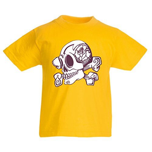 lepni.me Kids T-Shirt Great Tattoo Inspired Flower Detailed Skull and Bones Motif (1-2 Years Yellow Multi Color)