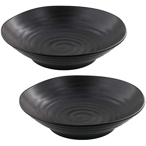 Zen Table Japan Stylish and Versatile Bowl Plate Matte Black Set of 2 -Made in Japan