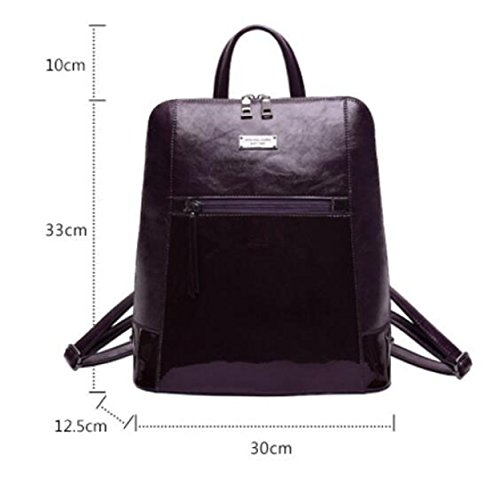 Purple Fashion Patent Sewing Bags Leather Backpack Waterproof Wax New Campus Student Shoulder Personality Ladies Oil Bag Korean IvqaCIXx