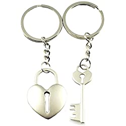 DreamsEden Cross Arrow Piece Love Heart Lock Key Couple Keychains (Gift Box & Greeting Card)Bag Key Rings Key Chain Gift for Valentine Wedding Anniversary (A Pair)