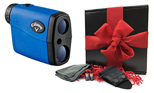 Callaway 200 (Blue) Golf Rangefinder GIFT BOX Bundle | Includes Compact Golf Laser Rangefinder, Callaway Carry Case, Magnetic Cart Mount, PlayBetter Microfiber Towel, Two (2) CR2 Batteries | Gift Box