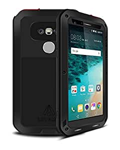 LG G5 Case,Mangix 3C-Aone[Newest]Gorilla Glass Luxury Aluminum Alloy Protective Metal Water Resistant Shockproof Military Bumper Heavy Duty Cover Shell Case for LG G5 (Black)