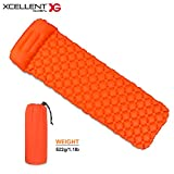 Xcellent Global Ultralight Compact Sleeping Pad for Hiking Backpacking Traveling, Inflatable Camping Mat Air Cell Design with Pillow CP007