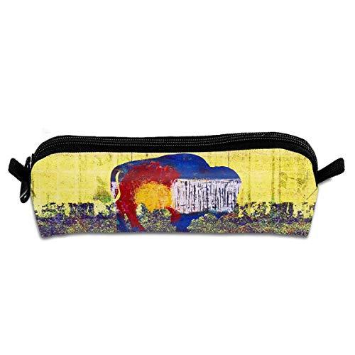 Retro Colorado Buffalo Canvas Cosmetic Pen Pencil Stationery Pouch Bag Case ()