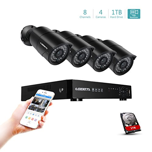 DEATTI 8CH HD 1080P Security Camera System, 5 in 1 DVR Recorder with 1TB HDD and 4 x 2000TVL AHD 2.0 MP Outdoor Waterproof CCTV Bullet Camera, 100ft Night Vision