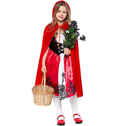 LOLANTA Children Girls Little Red Riding Hood Dress Halloween Cosplay Costume Fancy Dress (9-11 Years) ()