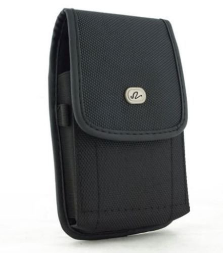 Alcatel OneTouch Pop 2 -4.5 5042A Large Oversize Vertical Heavy Duty Rugged Canvas Case with Clip Closure and Metal Clip on the back. Also has canvas belt loop underneath the clip. (Plus Size Perfect Fit w/ Otterbox Commuter / Defender /Hybrid Armor Case on it) - Black