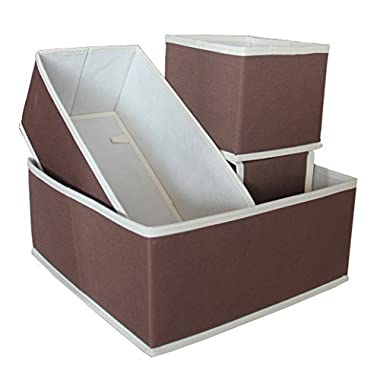 Misslo Foldable Storage Drawer Closet Dresser Organizer Bins (4 Piece Set, Coffee)